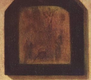 Crucifixion painting on back wall