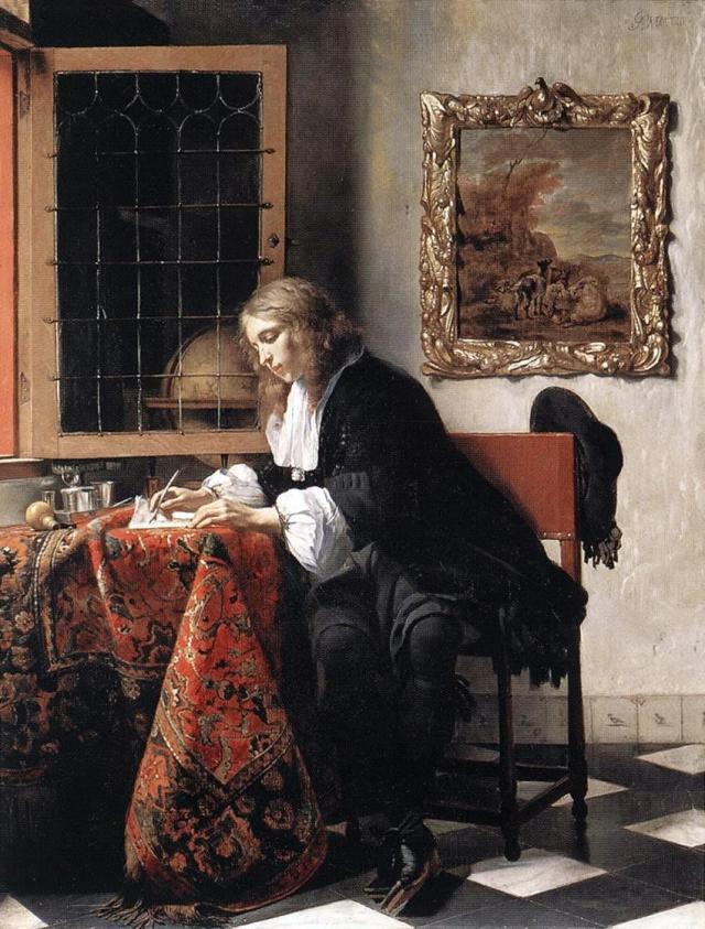 Man writing a Letter by Gabriel Metsu  (c. 1664-1666)