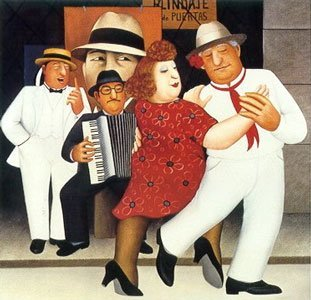 Tango Busking by Beryl Cook (1995)