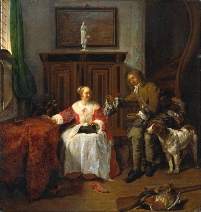 The Hunter's Present  by Gabriel Metsu  (c. 1658-61)