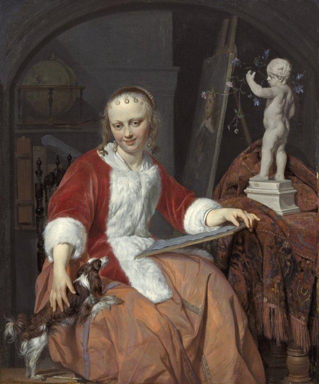 A Woman Artist, (Le Corset Rouge) by Gabriel Metsu (1661-4)