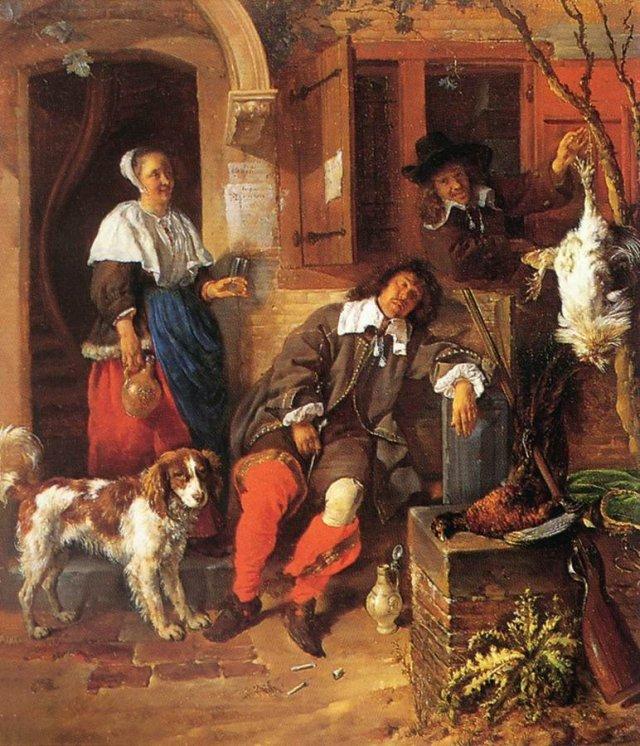 The Sleeping Sportsman by Gabriel Metsu (1660)