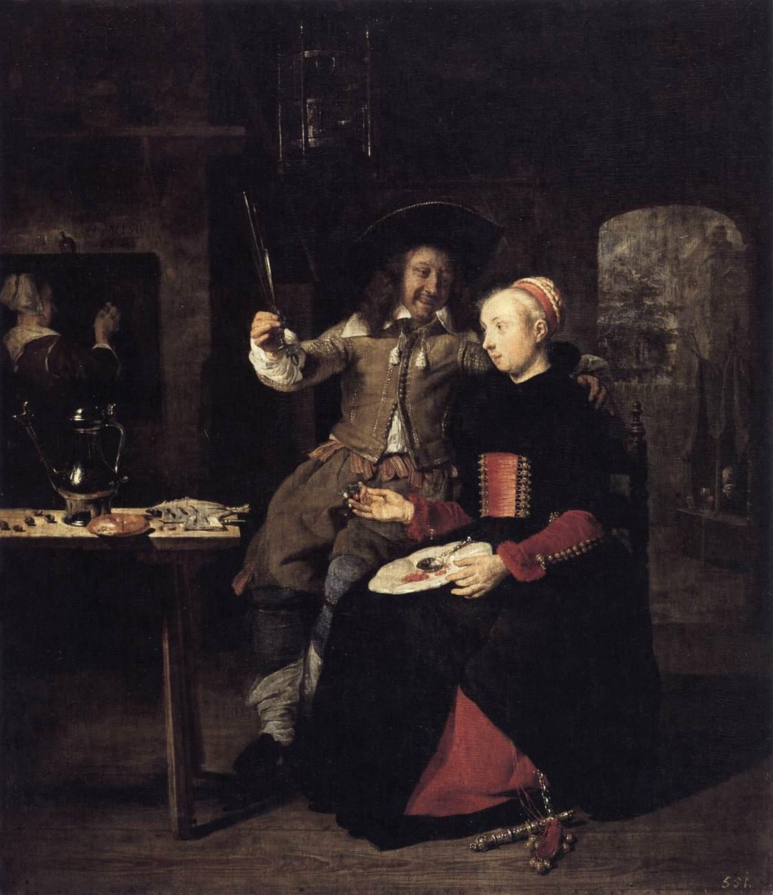 Gabriël Metsu Zxzportrait-of-the-artist-with-his-wife-isabella-de-wolff-in-a-tavern-by-gabriel-metsu-1661