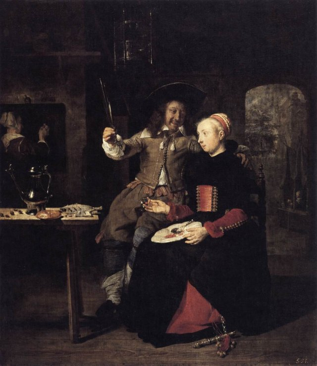 Portrait of the Artist with His Wife Isabella de Wolff in a Tavern by Gabriel Metsu (1661)