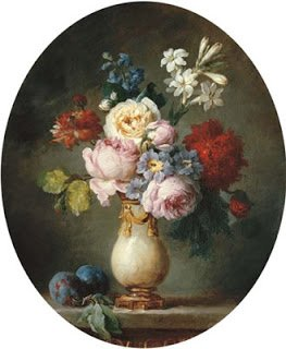 A Vase of Flowers, two Plums on a Marble Table top by Anne Vallayer-Coster (1781)