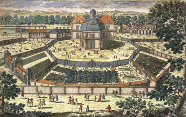 Backyard of the royal menagerie of Versailles during the reign of Louis XIV by Pierre Alexandre Aveline