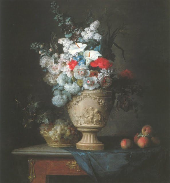 Bouquet of Flowers in a Terracotta Vase, with Peaches and Grapes by Anne Vallayer-Coster (1776)