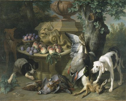 Dogs, Dead Game and Fruit by Alexandre-François Desportes (1715)