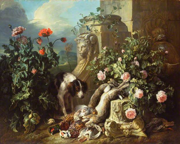 Dog with Flowers and Dead Game by Alexandre-François Desportes (1715)