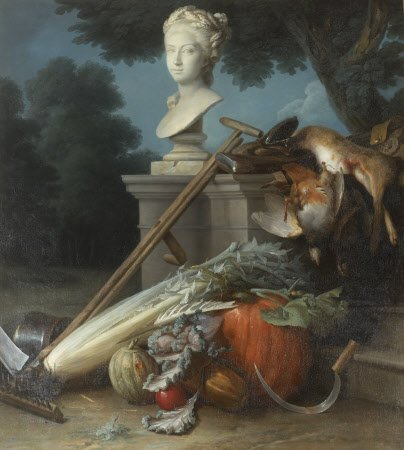 Garden Still Life, with Implements, Vegetables, Dead Game, and a Bust of Ceres (The Attributes of Hunting and Gardening by Anne Valleyer-Coster (1780)