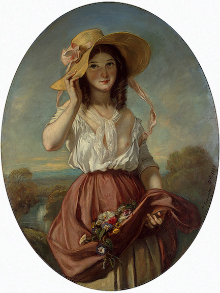 Girl with Flowers by Roqueplan (1843)