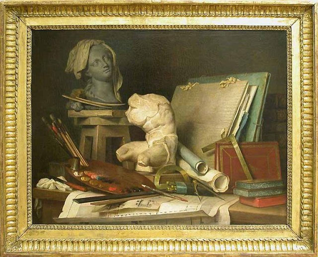 Les attributs de la peinture, de la sculpture et de l'architecture by Anne Vallayer-Coster  (1769)