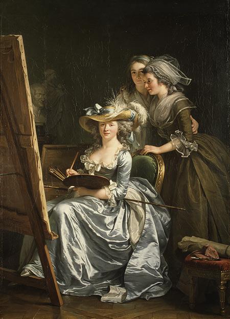 Self-Portrait with Two Pupils, Mademoiselle Marie Gabrielle Capet and Mademoiselle Carreaux de Rosemond by Adélaïde Labille-Guiard (1785)