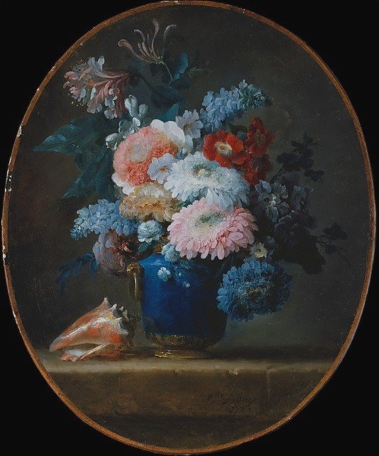 Vase of Flowers and Conch Shell by Anne Vallayer-Coster (1780).  Metroppolitan Museum of Art, New York