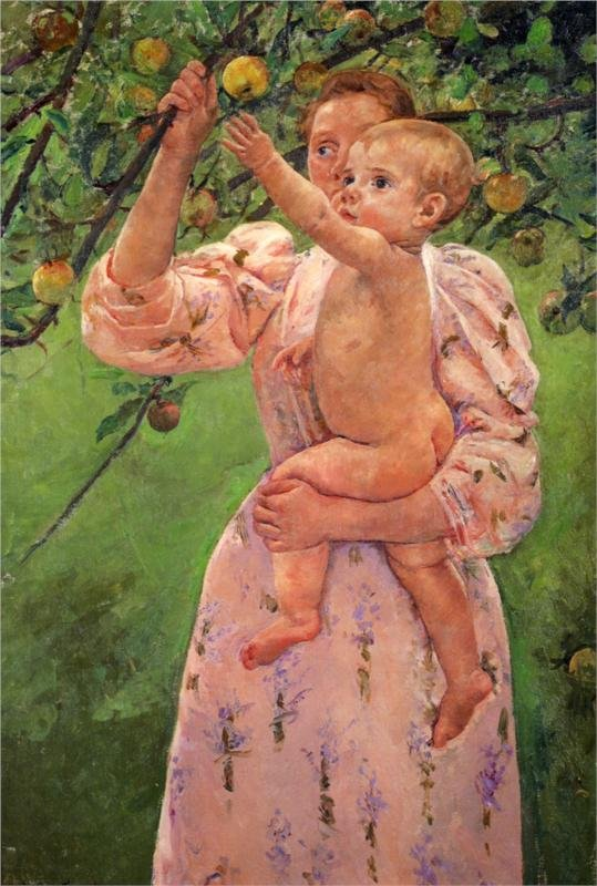 Baby reaching for an Apple by Mary Cassatt (1893)
