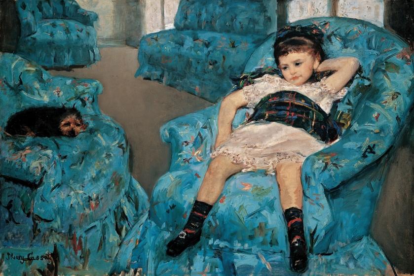 Little Girl in a Blue Armchair by Mary Cassatt (1878)