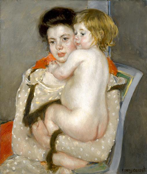 Reine Lefebvre Holding a Nude Baby by Mary Cassatt (1902)