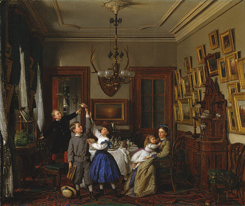 The Contest for the Bouquet.  The Family of Robert Gordon in Their New York Dining-Room  by Seymour Joseph Guy (1866)