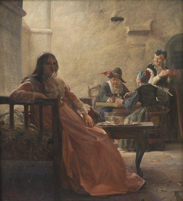 Leonora Christina i Fængselet (Leonora Christina dans la prison) par Kristian Zahrtmann (1875)