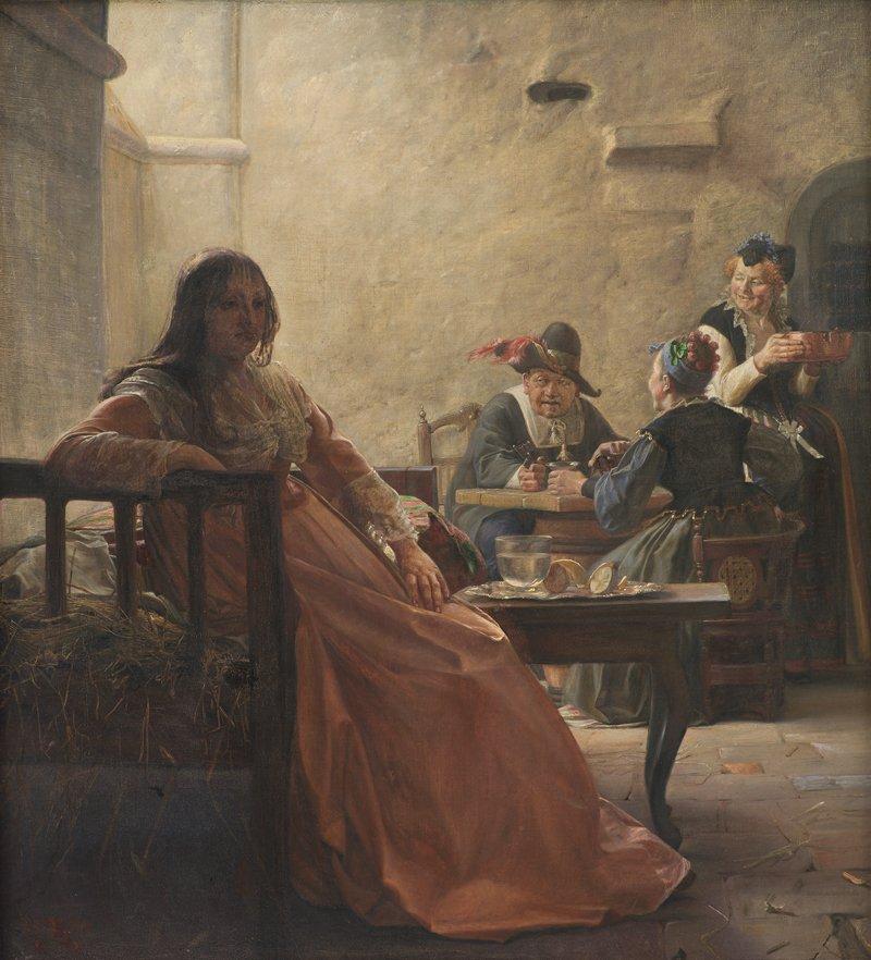 Leonora Christina i Fængselet (Leonora Christina in Prison) by Kristian Zahrtmann (1875)