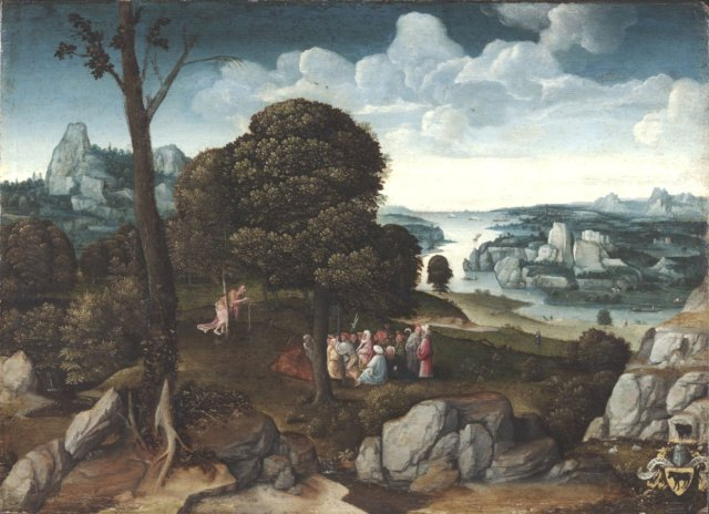 Landscape with Saint John the Baptist Preaching by Joachim Patinir with the Rem Crest