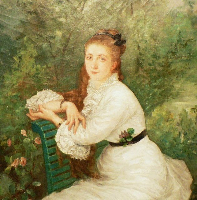 Woman in the Garden  (a portrait of her sister Louise)  by Marie Bracquemond