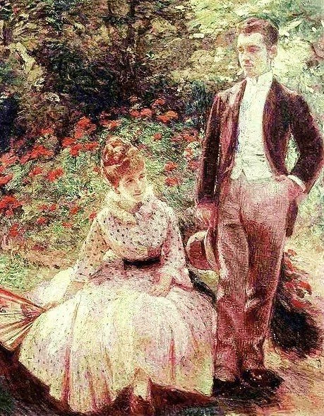 The Artist's Son and Sister in the Garden at Sèvres by Marie Bracquemond (1890