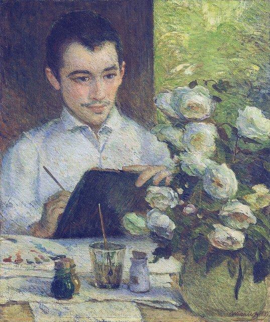 Pierre Bracquemond painting a bouquet of flowers by Marie Bracquemond (1887)
