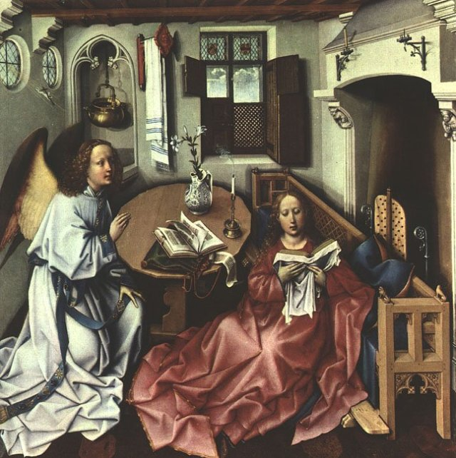 The centre panel (The Annunciation) by Robert Campin