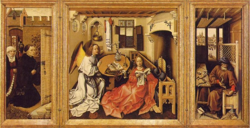 annunciation merode altarpiece by robert campin 1419, the annunciation, oil, madrid, museo nacional del prado, angel,annunciation,annunciation of the lord,blessed virgin mary,dutch,early netherlandish,europe.