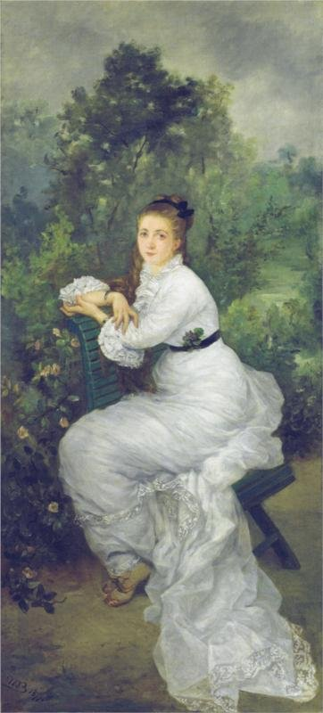 Woman in the Garden (Portrait of her sister Louise Quivoron) by Marie Bracquemond (1877)