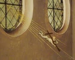 Christ Child descending into room on a beam of light