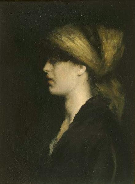 Chiaroscuro, A Profile, the Golden Scarf by Théodore Roussel (1900)