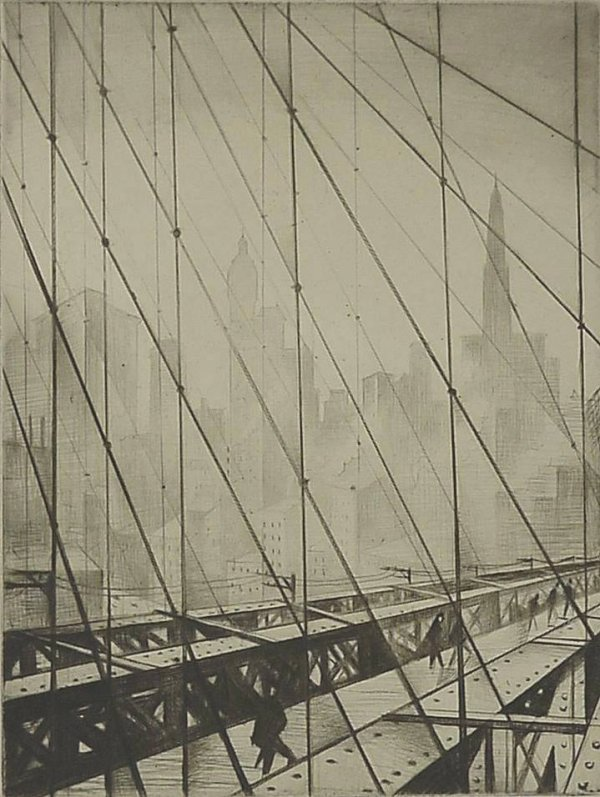 Looking through Brooklyn Bridge by C R W Nevinson (1920)
