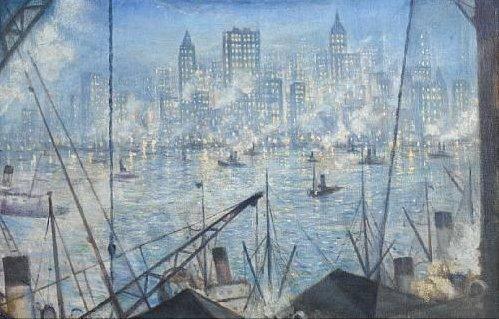 New York, Night by C R W Nevinson (c.1920)