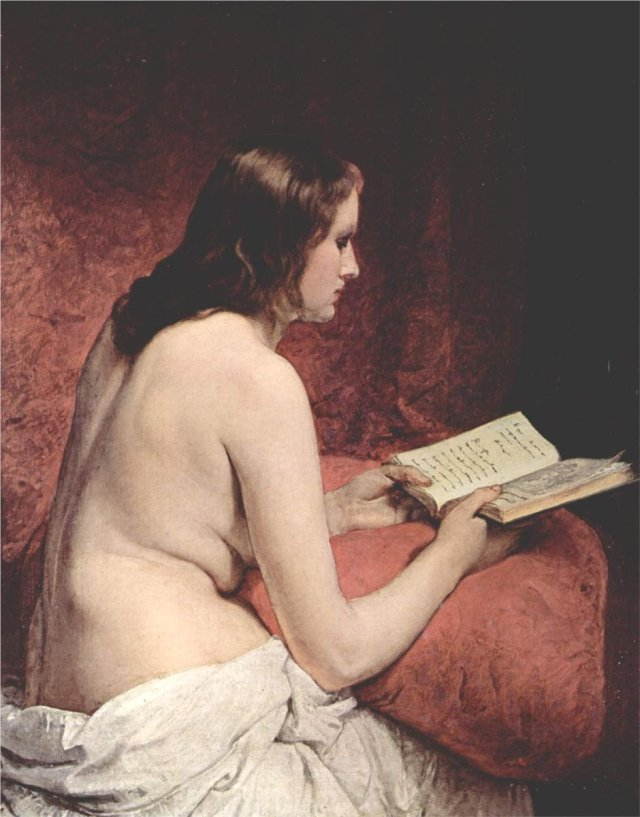 Odalisque with book by Francesco Hayez (1866)