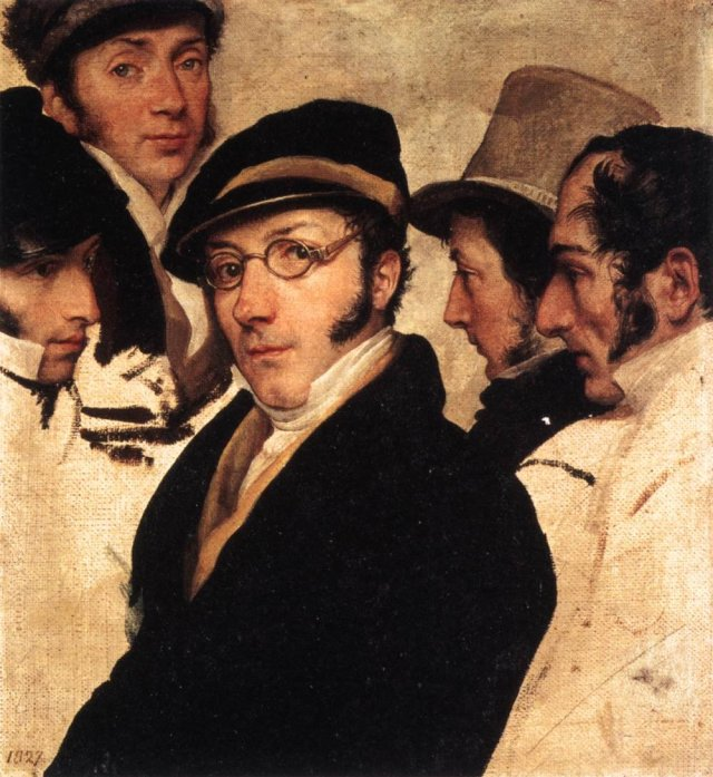 Self portrait with freinds by Francesco Hayez (c.1827)