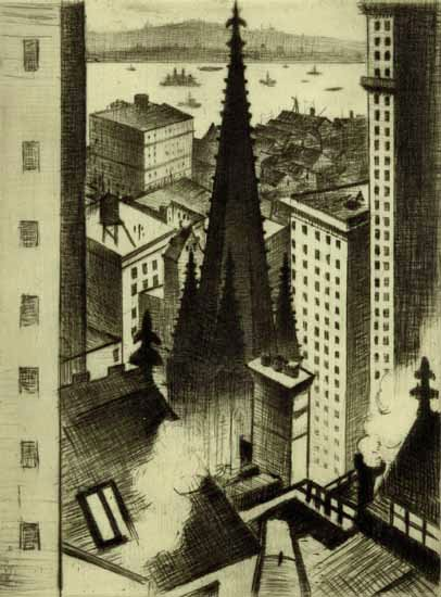 Temples of New York by C R W Nevinson (1919) Drypoint. Trinity Church facade from the back, which faces Wall Street