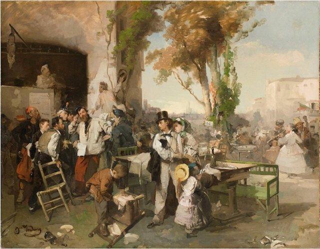 L'arrivo del Bollettino di Villafranca (The arrival of the bulletin of the peace of Villafranca)  by Domenico Induno (1862)