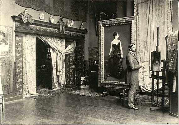John Singer Sargent in his studio with with his painting Madame X