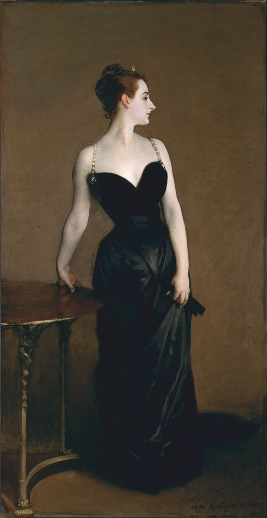 Madame X by John Singer Sargent (c.1884) with the position of the strap of dress altered