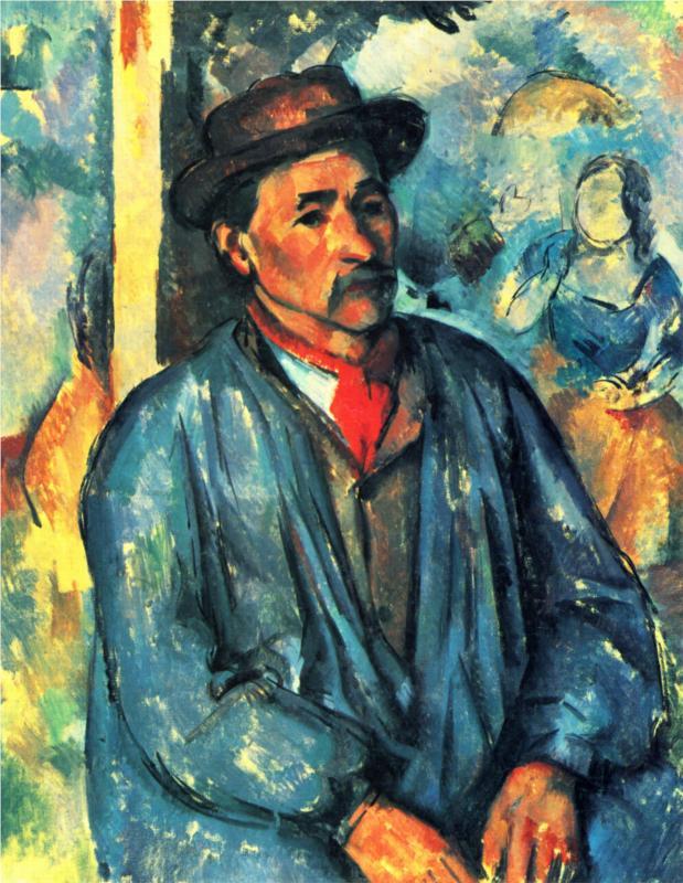 Man in Blue Smock by Cézanne (1897)