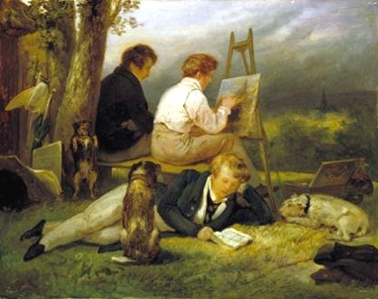 The Three Brothers Scheffer in a Landscape by Ary Scheffer (1824)