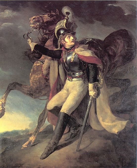 Wounded Cuirassier leaving the Field of Battle  by Théodore Géricault (1814)