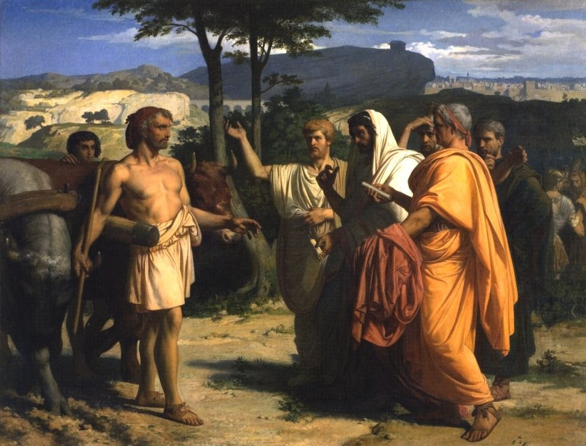 Envoys of the Senate offer the Dictatorship to Cincinnatus by Alexandre Cabanel (1844)