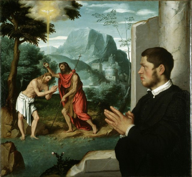 A Gentleman in Adoration before the Baptism of Christ by Giovanni Battista Moroni (c.1555)