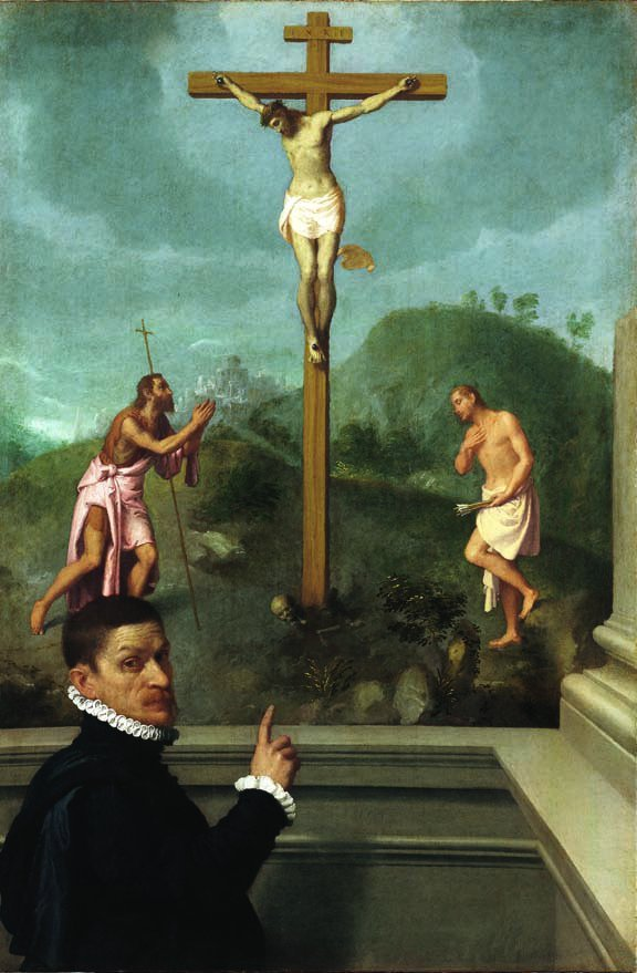 A Man in Contemplation Before the Crucifixion with St John the Baptist and St. Sebastian by Giovanni Battista Moroni (c.1575)