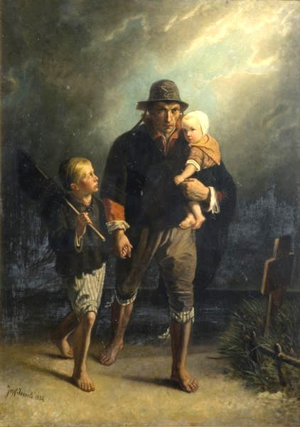 Along mother's grave by Jozef Israels (1856)
