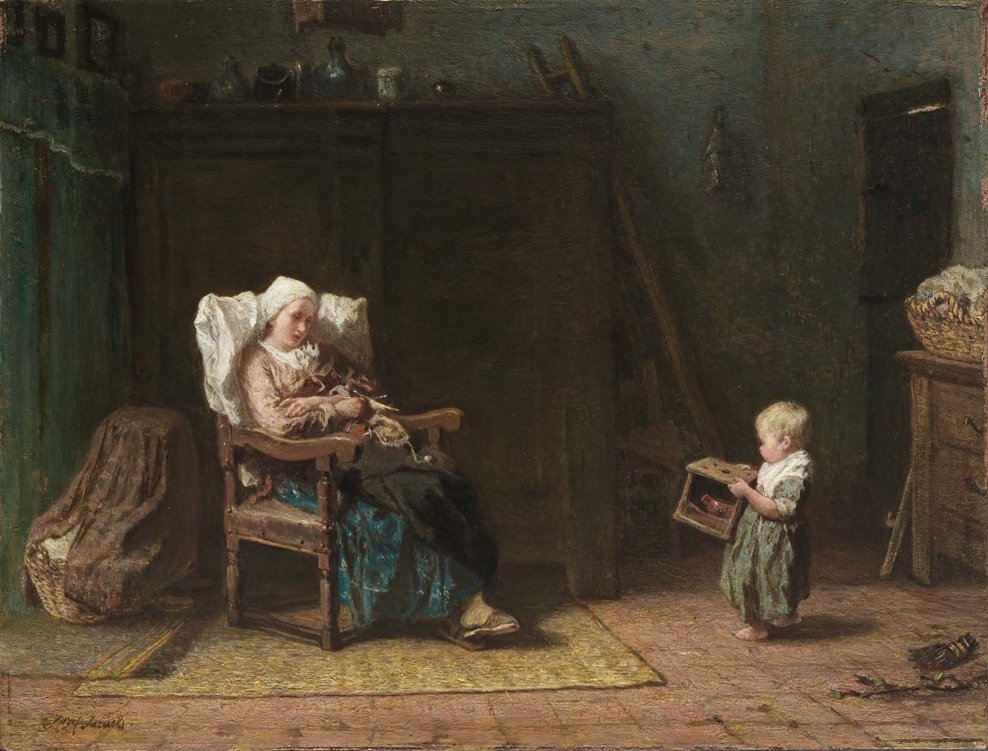 Convalescent Mother and Child by Jozef Israels (1871)