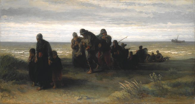 Fishermen carrying drowned man by Jozef Israels (c.1861)